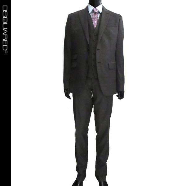 ディースクエアード DSQUARED2 メンズ スーツ グレー スリーピース FS0007 S44081 855 61A (R258000)【送料無料】【smtb-TK】