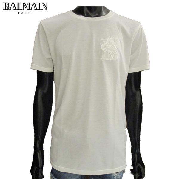 バルマン BALMAIN メンズ Tシャツ 刺繍 半袖 S7H8601 1003B 100 81S【送料無料】【smtb-TK】