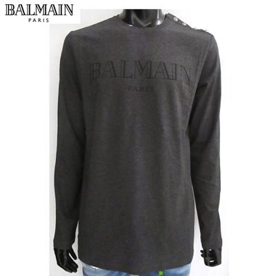 2018年秋冬新作 バルマン BALMAIN メンズ Tシャツ 長袖 ロンT 肩部分シルバーアンティークボタン チャコールグレー 黒ロゴ 色違い白有り W8H8651 I260 172 81A【送料無料】【smtb-TK】