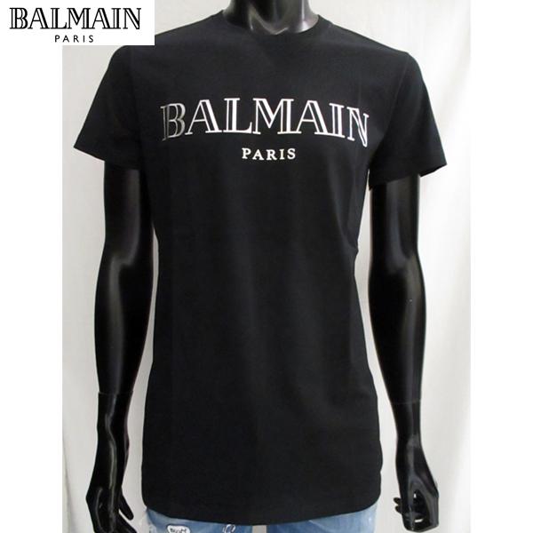 2018年秋冬新作 バルマン BALMAIN メンズ Tシャツ 半袖 黒地 シルバーロゴ W8H8601I 258//JER 1766 81A【送料無料】【smtb-TK】