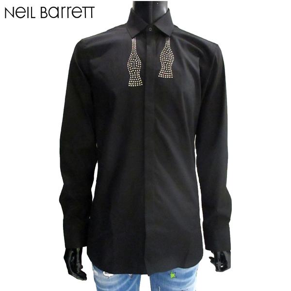 【送料無料】 2018年 秋冬新作 ニールバレット(NeilBarrett) メンズ ドレスシャツ 黒 PBCM1005C H069C 01 【smtb-tk】 81A