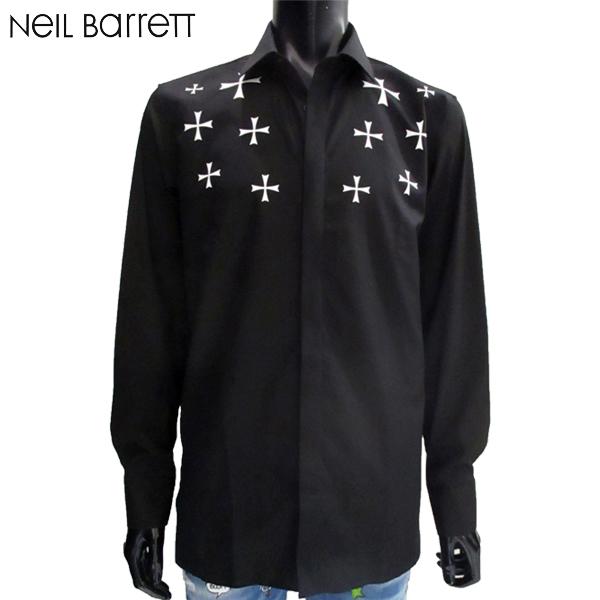 2018年秋冬新作 ニールバレット Neil Barrett メンズ ドレスシャツ 長袖 黒 PBCM995C H025S 524 81A (R61160)【送料無料】【smtb-TK】