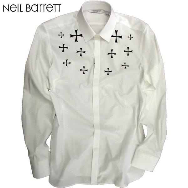 【送料無料】 2018年 秋冬新作 ニールバレット(NeilBarrett) メンズ ドレスシャツ 白 PBCM995C H025S 526 【smtb-tk】 81A