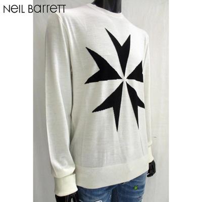 2018年秋冬新作 ニールバレット Neil Barrett メンズ セーター 白は完売・黒地に白花柄の販売のみです ニット ハイネック 指穴開き 白 丸首 クルーネック 色違い黒有り BMA831V H623 069 81A【送料無料】【smtb-TK】