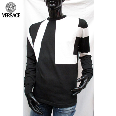 【送料無料】 ヴェルサーチ(Versace) メンズ ロンT 長袖 ニット ブラック JUCG0L 3U318 000 【smtb-tk】 06S