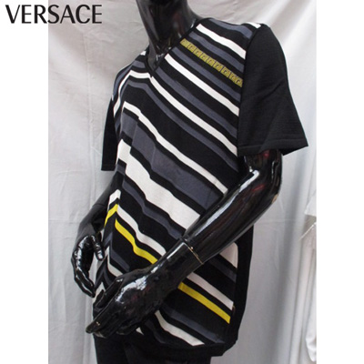 ヴェルサーチ Versace メンズ Tシャツ 半袖 ブランドロゴ 変形ボーダー ブラック SMCV0C5S325 008 71S【送料無料】【smtb-TK】
