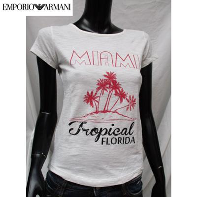 エンポリオアルマーニ EMPORIO-ARMANI レディース Tシャツ 半袖 イラスト マイアミ ホワイト 283784 5P207 WH 03A (R11000)