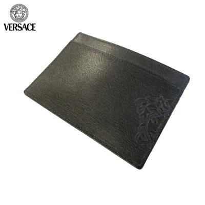 ヴェルサーチ(Versace)ハーフメデューサ付きカード入れ(カードケース・定期入れ) ヴェルサーチ Versace メンズ 男女兼用 カードケース カード入れ ハーフメデューサ付き  定期入れ レザー 本革レザー 皮 ブラック (R14800) 黒PN0002 VGR9 41N UNICA 【送料無料】【smtb-TK】