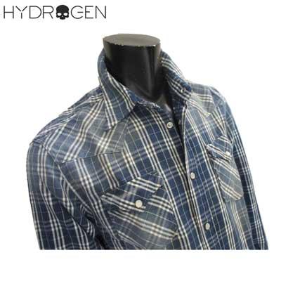 ハイドロゲン HYDROGEN メンズ タータンチェックシャツ 長袖 ロゴ 150508 594 81A【送料無料】【smtb-TK】
