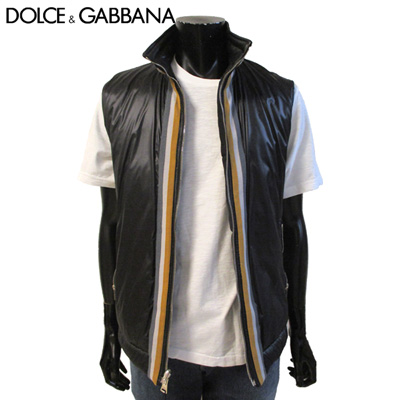 春夏 ドルチェ&ガッバーナ DOLCE&GABBANA メンズ ジャケット ベスト リバーシブル 両面着用可能です ドルガバ ブラック ロゴ G9H24G G7Q41 N0000 10S【送料無料】【smtb-TK】