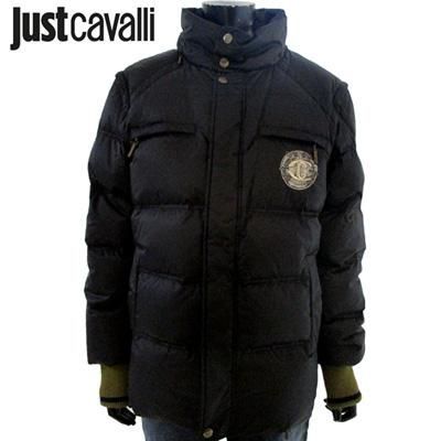 ジャストカヴァリ JUST CAVALLI メンズ アウター ジャケット【両袖取り外し可能・ベストになります。】 ジャストカバリ ロゴダウン ジャケット黒ブラック S01950 82430 900 8A【送料無料】【smtb-TK】