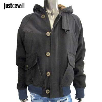 【サイズXL】ジャストカバリ JUST Cavalli メンズ フード付き黒のブルゾン 袖口と裾は紺色 ラスト1点 001920 38067 900ブラック 黒 【送料無料】【smtb-TK】
