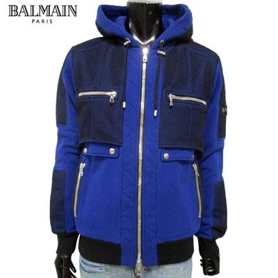 2019年春夏新作 バルマン BALMAIN メンズ ジャケット アウター ブルゾン ブランド フード付き ブルー 青 RH18236 J928 6AA 91S【送料無料】【smtb-TK】
