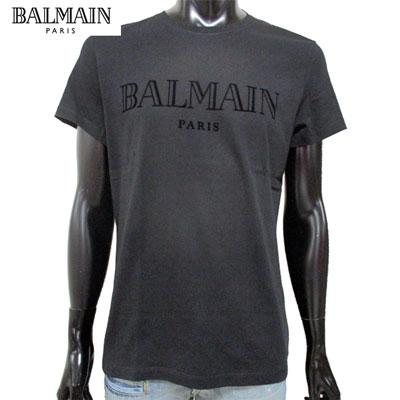 2019年春夏新作 バルマン BALMAIN メンズ Tシャツ トップス 半袖 クルーネック ブランドロゴ ブラック 黒 RH01601 I124 0PA 91S【送料無料】【smtb-TK】