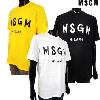2019年春夏新作 エムエスジーエム MSGM メンズ ブランドロゴプリントTシャツ ロゴ 3color ホワイト/イエロー/ブラック 2640MM97 195298 01/06/99 91S【送料無料】【smtb-TK】