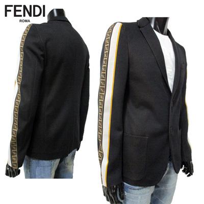 Fendi FENDI men jacket single Brest patch pocket FF ズッカ pattern  アンコンカジュアルブラック black FJ0560 A6TG F0QA1 91S in the