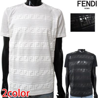 2019年春夏新作 フェンディ FENDI メンズ Tシャツ トップス 半袖 クルーネック FFライン 丸首 ホワイト 白 FAF532 A552 F0ZNM 91S【送料無料】【smtb-TK】