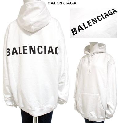 2019年春夏新作バレンシアガ BALENCIAGA メンズ バックフロントロゴ入りフーディー ロゴ ユニセックス着用可 ホワイト 白 556143 TAV37 9000 GB91S【送料無料】 【smtb-TK】