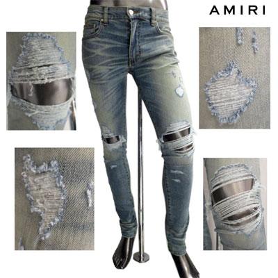 アミリ(AMIRI) メンズ パンツ デニム デストロイクラッシュ加工スキニーパンツ インディゴ ブルー MBTHR DES CLASSIC INDIGO (R168000) GB81A【送料無料】 【smtb-TK】