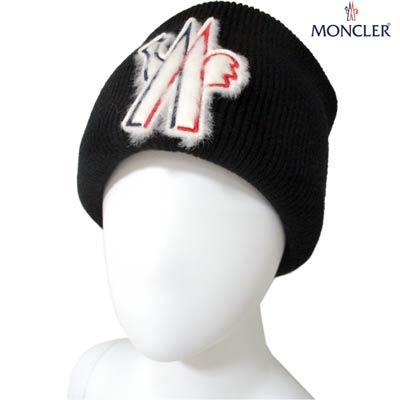 モンクレール MONCLER メンズ 帽子 キャップ ニット帽 ユニセックス可 羊毛フェルト・トリコロールロゴワッペン付きニット帽 ブラック 9973810 A9251 999 (R72200) 91A【送料無料】 【smtb-TK】