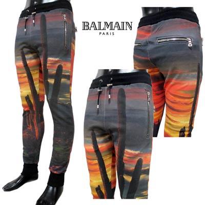 2020年春夏新作 バルマン BALMAIN メンズ パンツ ジョガーパンツ ロゴ 夕日・サボテン転写プリントジョガーパンツ マルチカラー TH15554 I257 AAA (R153300) 02S【送料無料】 【smtb-TK】