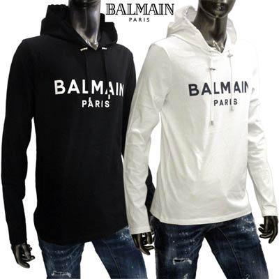 2020年春夏新作 バルマン BALMAIN メンズ トップス パーカー フーディー ロゴ 2color フロントBALMAINロゴ付ライトパーカー 白/黒 TH11006 I235 0FA/0PA (R68100) 02S【送料無料】 【smtb-TK】
