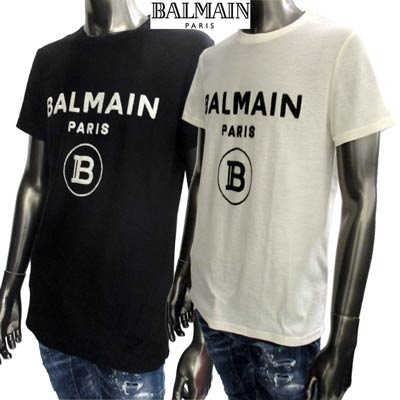 2020年春夏新作 バルマン BALMAIN メンズ トップス Tシャツ カットソー ロゴ 2color フロントパイル地BALMAINロゴ付Tシャツ 白/黒 TH11601 I203 GAB/EAB (R67500) 02S【送料無料】 【smtb-TK】