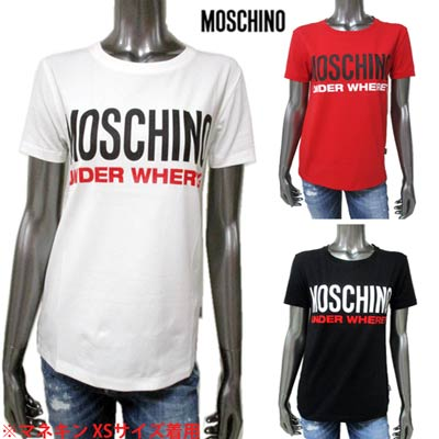モスキーノ MOSCHINO ビッグMOSCHINOロゴ 裾ロゴタグ付Tシャツ 3color 海外 レディース トップス Tシャツ 半袖 ロゴ 売り込み 白 赤 smtb-TK R16700 1 送料無料 555 A1905 02S 黒 113 2020年春夏新作 9003