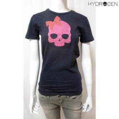 送料無料 ハイドロゲン HYDROGEN フロントリボンスカルプリント付きTシャツ レディース 大決算セール トップス Tシャツ カットソー 激安通販 ダークグレー ロゴ H21 smtb-TK DB11S R14700 0B3126
