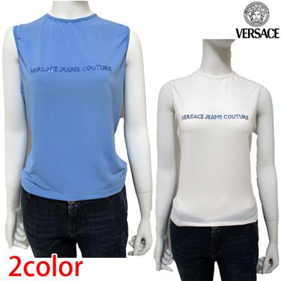 ヴェルサーチ(Versace) Tシャツ レディース トップス ブランドロゴ ラインストーン ノースリーブ タンクトップ 2color ホワイト ブルー 白 青 FV6746 14753 613 / 001 (R16800)【smtb-tk】【送料無料】 7S