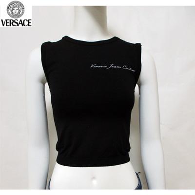 ヴェルサーチ(Versace) Tシャツ トップス レディース ラウンドネック ブランドロゴ へそ出し ブラック 黒 FV6701 82032 900 (R14800)【smtb-tk】【送料無料】 7S