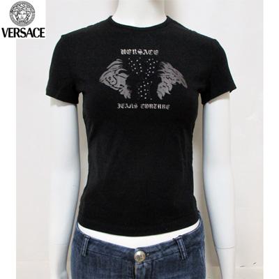 ヴェルサーチ(Versace) Tシャツ トップス レディース 半袖 クルーネック ライトストーン シースルーハーフメデューサ メデゥーサ ロゴ ブラック 黒 HV87BB 21431 900 (R20520)【smtb-tk】【送料無料】 4S