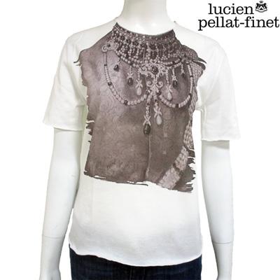 ルシアンペラフィネ(lucien pellat-finet) 【サイズXS】 Tシャツ レディース 半袖 トップス ジュエリー ネックレス プリント ホワイト 白 EVF1580 WH (R82950) 【smtb-tk】【送料無料】 DB14S