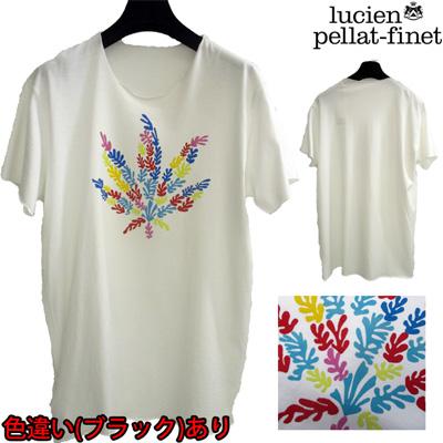 ルシアンペラフィネ(lucien pellat-finet) Tシャツ メンズ 半袖 ヘンプ トップス 色違い(ブラック)あり リーフ ホワイト 白 EVH1084 WH (R75600)【smtb-tk】【送料無料】 WA13S