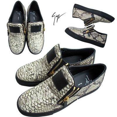 ジョゼッペ ザノッティGIUSEPPE ZANOTTI メンズ 靴 スニーカー パイソンレザー使用 ZIP付ローカットスニーカー ブラウン RU5059 059814 ANT8ACITE 15A (R99200)【送料無料】 【smtb-TK】