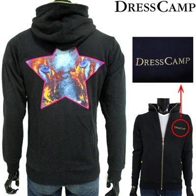 ドレスキャンプ(DRESS CAMP) パーカー フルジップ トップス メンズ スウェット フーディ ブランドロゴ スター ブラック 黒 42D2704002 09 BK 【smtb-tk】 SF12A