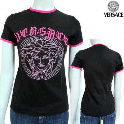 ヴェルサーチ(Versace) 【サイズS】Tシャツ 半袖 トップス レディース クルーネック メデューサ ブラック 黒 ピンク VLCD44 J203 F405 (R25800)【smtb-tk】【送料無料】 4A