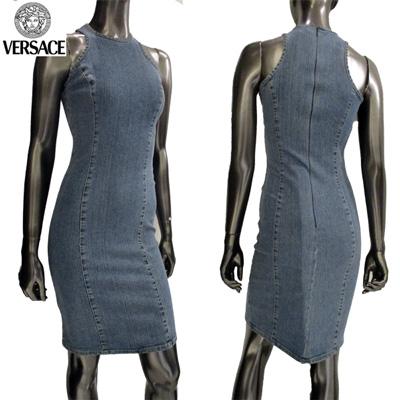 【サイズ36】ヴェルサーチ ノースリーブデニムワンピースドレス レディース Versace ブルー 青 FY7415 11088 700 (R28800)【smtb-tk】【送料無料】 3S