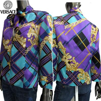 【サイズM】ヴェルサーチジーンズ Versace JEANS レディース ブラウス 長袖 スカーフ柄 CV7620 15219 002 CAMICIA ブルー/パープル (R49000)【送料無料】【smtb-TK】