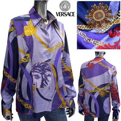 ヴェルサーチジーンズ Versace JEANS レディース ブラウス 長袖 スカーフ柄 CV7636 14731 002 CAMICIA パープル/ゴールド (R98000)【送料無料】【smtb-TK】