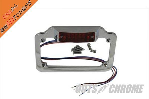 【取寄】42-0923 ライセンス プレート フレーム クローム ビレット LED レッド トップ ランプ 汎用品 for 4