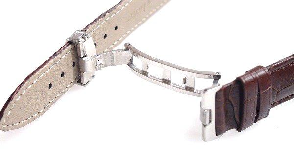 腕時計 ベルト 20mm レザー ダークブラウン バックルタイプ Dバックル シルバー 交換工具付 メール便可