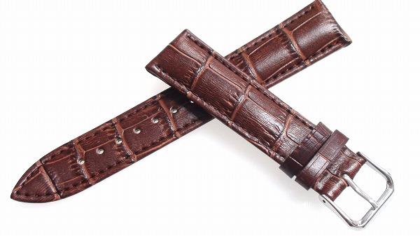 腕時計 ベルト 19mm レザー ダークブラウン バックルタイプ ピンインバックル シルバー  交換工具付 メール便可