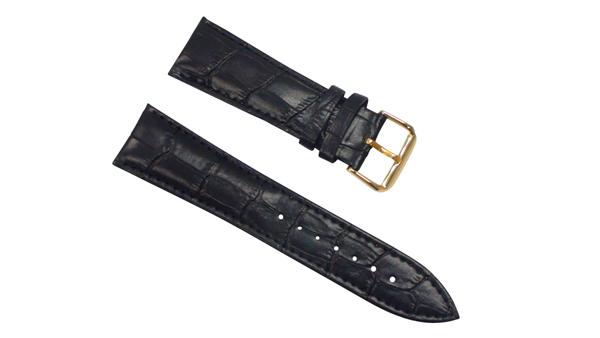 腕時計 ベルト 22mm レザー 黒 ピンインバックル イエローゴールド  交換用工具付 スマートウォッチ ベルト 22mm