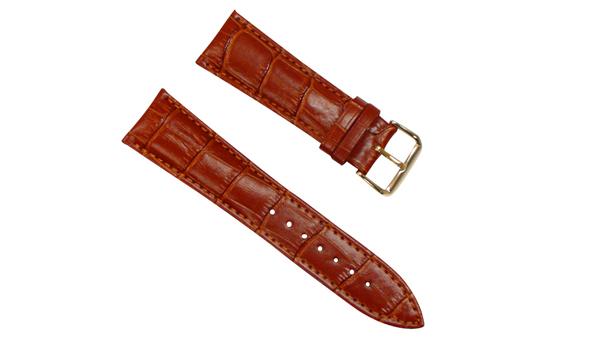 腕時計 ベルト 24mm レザー 茶 ピンインバックル イエローゴールド 交換用工具付 スマートウォッチ レザー バンド
