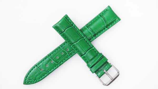 腕時計 ベルト 18mm レザー 緑 バックルタイプ ピンインバックル シルバー  交換工具付 メール便可
