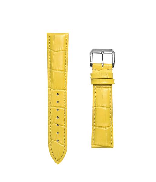 腕時計 ベルト 21mm レザー イエロー ピンインバックル シルバー n-ye-s 交換工具付属
