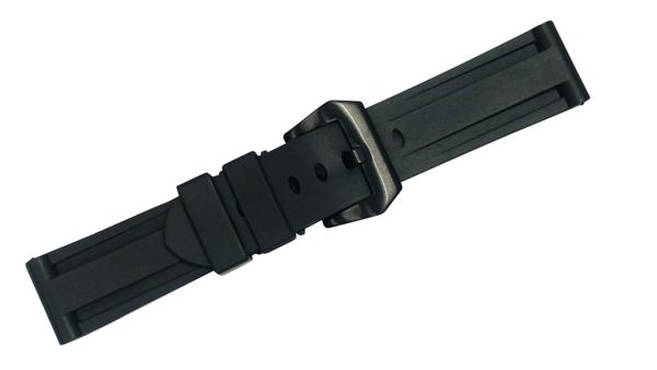 パネライ PANERAI 対応 腕時計 ベルト 24mm ラバー 黒 PR01BK バックルタイプ 黒 フィッシュテールバックル バンド 交換工具 付属社外品