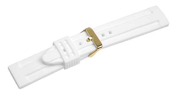 [for ダイバーズ クロノグラフ etc スポーツモデル] 腕時計 ベルト 18mm 20mm 22mm 24mm ホワイト シリコン ラバー イエローゴールドピンバックル yn-wh-y