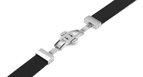 腕時計 ラバー ベルト用 Dバックル 18mm 22mm プッシュ式 シルバー rpd-sv 交換 バックル